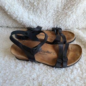 Birkenstock Papillio Black Lana Wedge Sandals